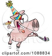 Clipart New Year Party Pig Royalty Free Vector Illustration by toonaday