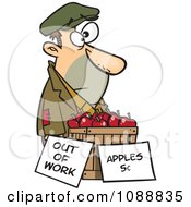 Clipart Homeless Man Trying To Sell Apples Royalty Free Vector Illustration by Ron Leishman