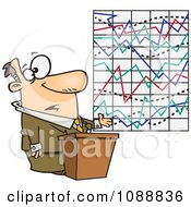 Clipart Businessman Trying To Explain A Messed Up Graph Royalty Free Vector Illustration by toonaday