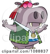 Clipart Purple Hippie Hippo Gesturing Peace Royalty Free Vector Illustration by toonaday