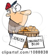 Clipart Unemployed Man Trying To Sell Oranges Royalty Free Vector Illustration