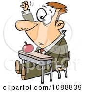 Clipart Life Long Male Student Raising His Hand In Class Royalty Free Vector Illustration by toonaday