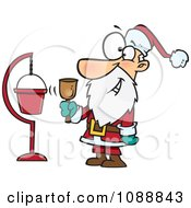 Clipart Santa Ringing A Bell By A Donation Cup Royalty Free Vector Illustration