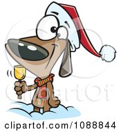Clipart Christmas Dog Ringing A Bell For Donations Royalty Free Vector Illustration