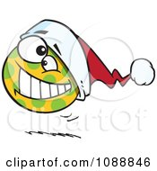 Clipart Spotted Christmas Ball Bouncing Royalty Free Vector Illustration