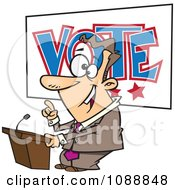 Clipart Male Politician Giving A Speech Before An Election Royalty Free Vector Illustration