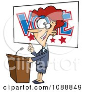 Clipart Female Politician Giving A Speech Before An Election Royalty Free Vector Illustration