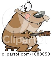 Clipart Bear Playing A Ukelele Royalty Free Vector Illustration by toonaday