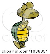 Clipart Standing Yoga Tortoise In A Pose Royalty Free Vector Illustration by toonaday