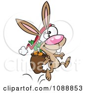 Clipart Christmas Bunny Hopping With Carrots In His Sack Royalty Free Vector Illustration