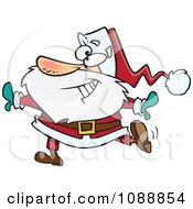 Clipart Christmas Santa Dancing Royalty Free Vector Illustration by toonaday