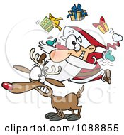 Clipart Christmas Santa Juggling Gifts On A Reindeer Royalty Free Vector Illustration