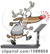 Clipart Christmas Reindeer Running On A Treadmill Royalty Free Vector Illustration by Ron Leishman