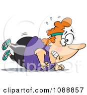 Clipart Overweight Lady Trying To Do Push Ups Royalty Free Vector Illustration