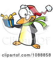 Clipart Christmas Penguin Giving A Present Royalty Free Vector Illustration by toonaday