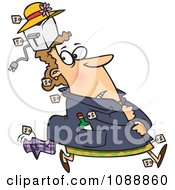 Clipart Kleptomaniac Female Shoplifter With Goods Stashed In Her Hat And Clothes Royalty Free Vector Illustration by Ron Leishman