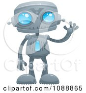 Clipart Waving Blue Eyed Robot Royalty Free Vector Illustration by John Schwegel