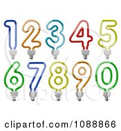 Clipart 3d Colorful Number Energy Saving Light Bulbs Royalty Free CGI Illustration