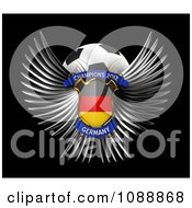 Clipart 3d Winged Germany Shield And Soccer Ball Royalty Free CGI Illustration by stockillustrations