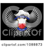 Clipart 3d Winged Poland Shield And Soccer Ball Royalty Free CGI Illustration