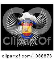 Clipart 3d Winged Spain Shield And Soccer Ball Royalty Free CGI Illustration
