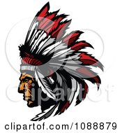 Clipart Native American Indian Chief And Feather Headdress Mascot Royalty Free Vector Illustration by Chromaco #COLLC1088879-0173