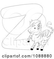 Clipart Outlined Z Is For Zebra Coloring Page Royalty Free Vector Illustration