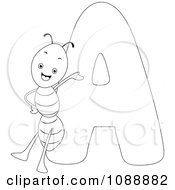 Clipart Outlined A Is For Ant Coloring Page Royalty Free Vector Illustration by BNP Design Studio