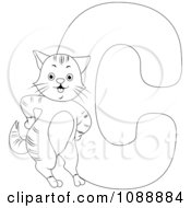 Clipart Outlined C Is For Cat Coloring Page Royalty Free Vector Illustration