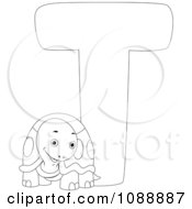 Outlined T Is For Turtle Coloring Page