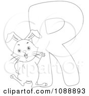 Clipart Outlined R Is For Rabbit Coloring Page Royalty Free Vector Illustration