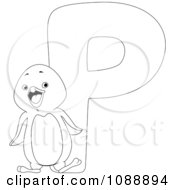 Clipart Outlined P Is For Penguin Coloring Page Royalty Free Vector Illustration