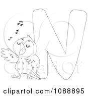 Clipart Outlined N Is For Nightingale Coloring Page Royalty Free Vector Illustration