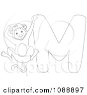 Clipart Outlined M Is For Monkey Coloring Page Royalty Free Vector Illustration