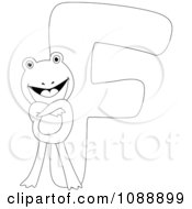 Clipart Outlined F Is For Frog Coloring Page Royalty Free Vector Illustration