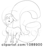 Clipart Outlined G Is For Goat Coloring Page Royalty Free Vector Illustration by BNP Design Studio