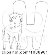Clipart Outlined H Is For Horse Coloring Page Royalty Free Vector Illustration