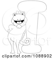 Clipart Outlined I Is For Iguana Coloring Page Royalty Free Vector Illustration