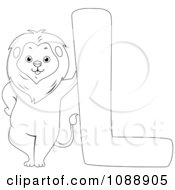 Clipart Outlined L Is For Lion Coloring Page Royalty Free Vector Illustration