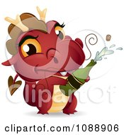 Clipart Red New Year Dragon Popping Champagne Royalty Free Vector Illustration