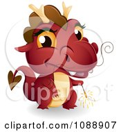 Clipart Red New Year Dragon Holding A Sparkler Royalty Free Vector Illustration