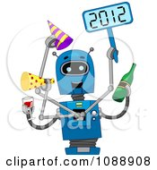 Clipart 2012 New Year Robot Partying Royalty Free Vector Illustration