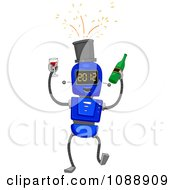 Clipart 2012 New Year Robot With Wine Royalty Free Vector Illustration
