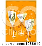 Clipart Happy New Year Champagne Glasses On Orange Royalty Free Vector Illustration