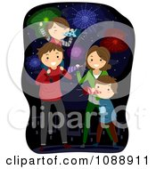 Clipart Happy Family Celebrating New Years Or Fourth Of July Royalty Free Vector Illustration by BNP Design Studio