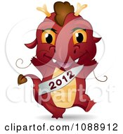 Clipart Red Dragon Wearing A 2012 Sash Royalty Free Vector Illustration