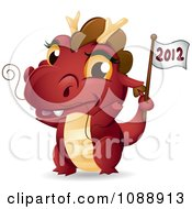 Clipart Red Dragon Waving A 2012 Flag Royalty Free Vector Illustration