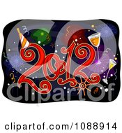 Clipart 2012 New Year Over Fireworks Royalty Free Vector Illustration