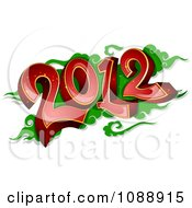 Clipart Red 2012 New Year Over Green Royalty Free Vector Illustration