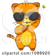Clipart Cool Ginger Cat Wearing Shades And Scratching His Head Royalty Free Vector Illustration